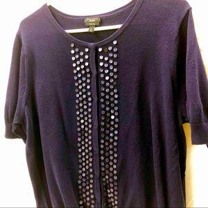 Navy Blue Short Sleeve Embellished Sweater XL